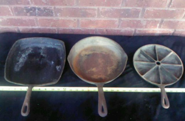 3 Vintage Cast Iron Skillets WAGNER 1891, LODGE and SQUARE All USA Made