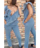 Chic Flounce Design Denim One-piece Jumpsuit - $42.48