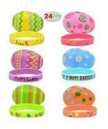 JOYIN 24 PCs Filled Easter Eggs with Silicon Rubber Bands Wristbands, Br... - $12.98
