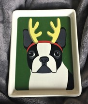 """RAE DUNN by Magenta French Bulldog w/ Antlers Plate 6.5"""" - Stoneware NEW - $10.45"""