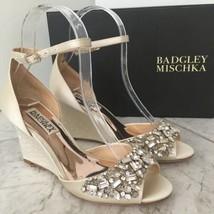 Badgley Mischka Barbara Ivory Satin Wedge High Heel Sandals Size 5.5 M - $252.45
