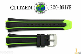 Citizen Eco-Drive BN0097-11E Green / Black Rubber Watch Band Strap - $74.95