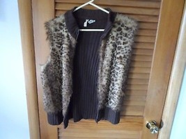 Ladies size XL brown knit sweater vest with faux fur from Tiara - $18.00