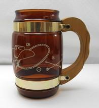 Vintage Siesta Ware 8 Brown Western Design Mugs - Gold Bands and Wood Ha... - $26.55