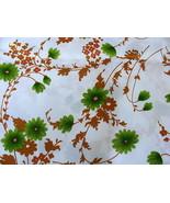 Urasi Print Fukui Japan Polyester Green Brown Floral Fabric - $35.00