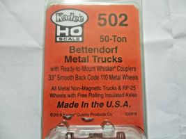 Kadee # 502 Bettendorf 50 Ton Metal Trucks With #148 Whisker Couplers 1 Pair (HO image 3