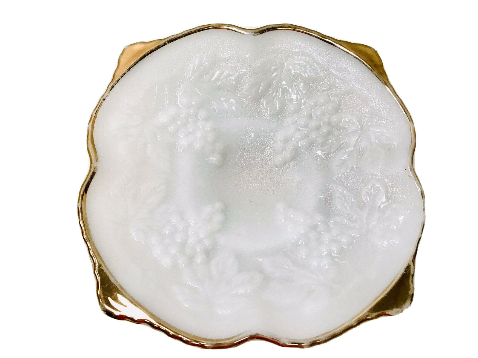 Primary image for Vintage 1960's Anchor Hocking Milk Glass Grape Pattern Gold Edge Footed Bowl