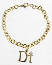 "VINTAGE DIAMOND INTERNATIONAL GOLD TONE LINK DIAMOND CHARM BRACELET 7.5""... - $40.49"