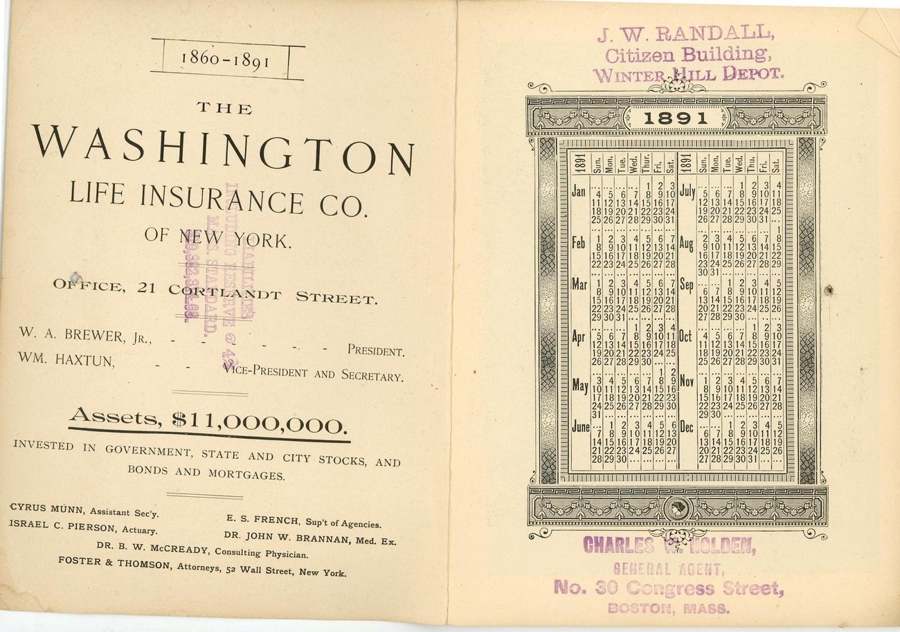 Washington Life Insurance Co 1891 almanac advertising book NY  ephemera