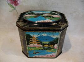 Vintage Oriental Mount Fuji Japan Candy Tin Fruit Drops Collector Souvenir  - $12.95