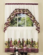 3 pc Grapes Wine Tier Pair Window Curtain Set Swag Valance Kitchen 24 36... - $22.67+
