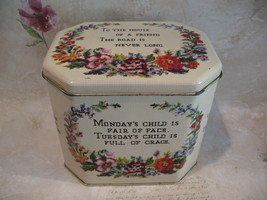 Vintage Child's DAY Of The WEEK Tin Collector Souvenir HOUSE FRIEND ROAD  - $14.95