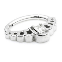 SURGICAL STEEL HINGED DAITH RING WITH CLAW SET RECTANGULAR CRYSTAL 1.2mm... - $10.09