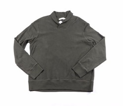 New J Crew Mens Large Sueded Jersey Pullover Shawl Neck Sweater Hunter Green - $49.45
