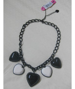 NWT Betsey Johnson Black Heart White Heart Chain Necklace - $42.00