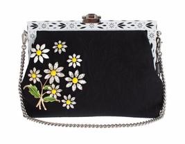 Dolce & Gabbana Purse VANDA Black Brocade Floral Crystal Clutch - $1,917.35