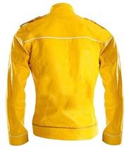 Womens Freddie Mercury Wembley Queen Tribute Concert Yellow Biker Leather Jacket image 3