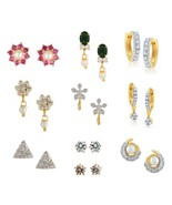 Efulgenz Pack of Cubic Zirconia Cubic Zirconia Stone Stud Earrings for w... - $34.00