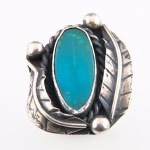Vintage Silver with Green Turquoise Ring (Size 7) Accented by Silver Leaves - $57.92