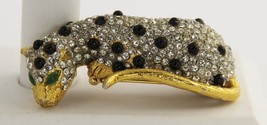 60s 70s Vintage Kjl Kenneth Jay Lane Pave Rhinestone Leopard Dress Clip Brooch - $93.75