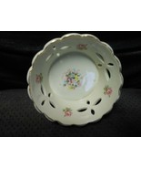 """Ceramic Rose-themed Gold-Trimmed Candy Dish 4 1/2""""W X 2""""D USED - $7.87"""