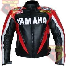 YAMAHA 0827 RED MOTORBIKE MOTORCYCLE BIKERS COWHIDE LEATHER ARMOURED JACKET - $194.99