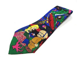 1993 Looney Tunes Scuba Multi-Colored 100% Silk Men's Neck Tie Made in Korea - $24.70