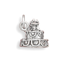 Wedding Cake Sterling Silver Charm - $14.95