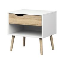 Modern Mid Century Style End Table Nightstand in White & Oak Finish - £79.11 GBP
