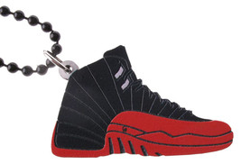 Good Wood NYC Flu Game 12 Sneaker Necklace Black/Red Shoes XII Varsity image 1