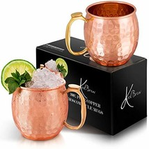 KoolBrew Moscow Mule Copper Mugs Gift Set of 2 Copper Mules,100% Pure So... - $21.65