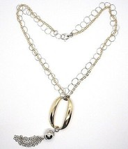 Necklace Silver 925,Double Chain Rolo ' ,White and Yellow,Oval Fringed,Hanging image 2