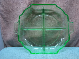 Four compartment green Vaseline glass relish dish. - $15.00