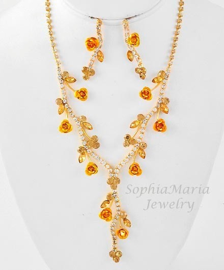Primary image for Light topaz crystal flower necklace set bridesmaid wedding party prom gift box