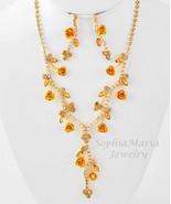 Light topaz crystal flower necklace set bridesmaid wedding party prom gi... - $19.79