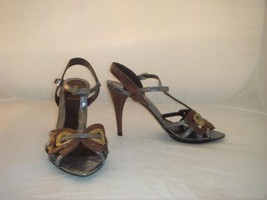 Nib Authentic Fendi Snakeskin Metallic Shiny Bow Sold Out Rare Sandals Shoes 39 - $444.51