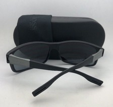 New HUGO BOSS Sunglasses 0319/S 807RA 56-18 Black Frame w/ Grey Polarized Lenses