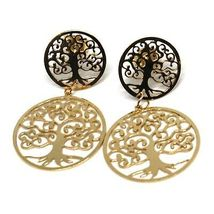 DROP EARRINGS YELLOW GOLD 750 18K, 2 DISCS CARVED, TREE OF LIFE image 2
