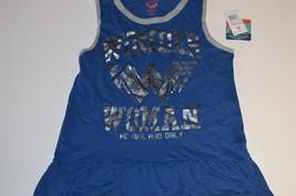 DC Wonder Woman Ruffle Hem Sleep Gown Blue With Grey Trim Silver Logo Ju... - $6.92
