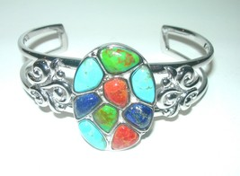 STERLING SILVER ARTISAN MULTI GEMSTONE TURQUOISE LAPIS SIGNED CUFF BRACE... - $150.00