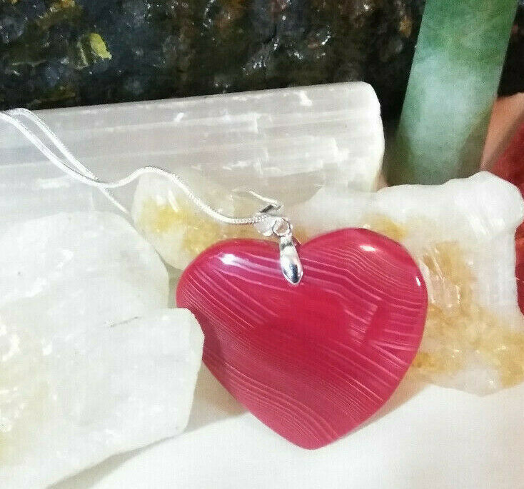 Primary image for Necklace, Red Banded Agate Heart Natural Stone Sterling Sliver Chain Boho Chic