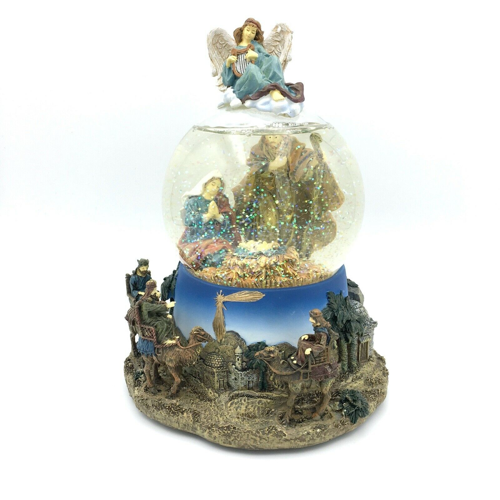 Primary image for SAN FRANCISCO MUSIC BOX snow globe - Little Town of Bethlehem nativity scene 7""