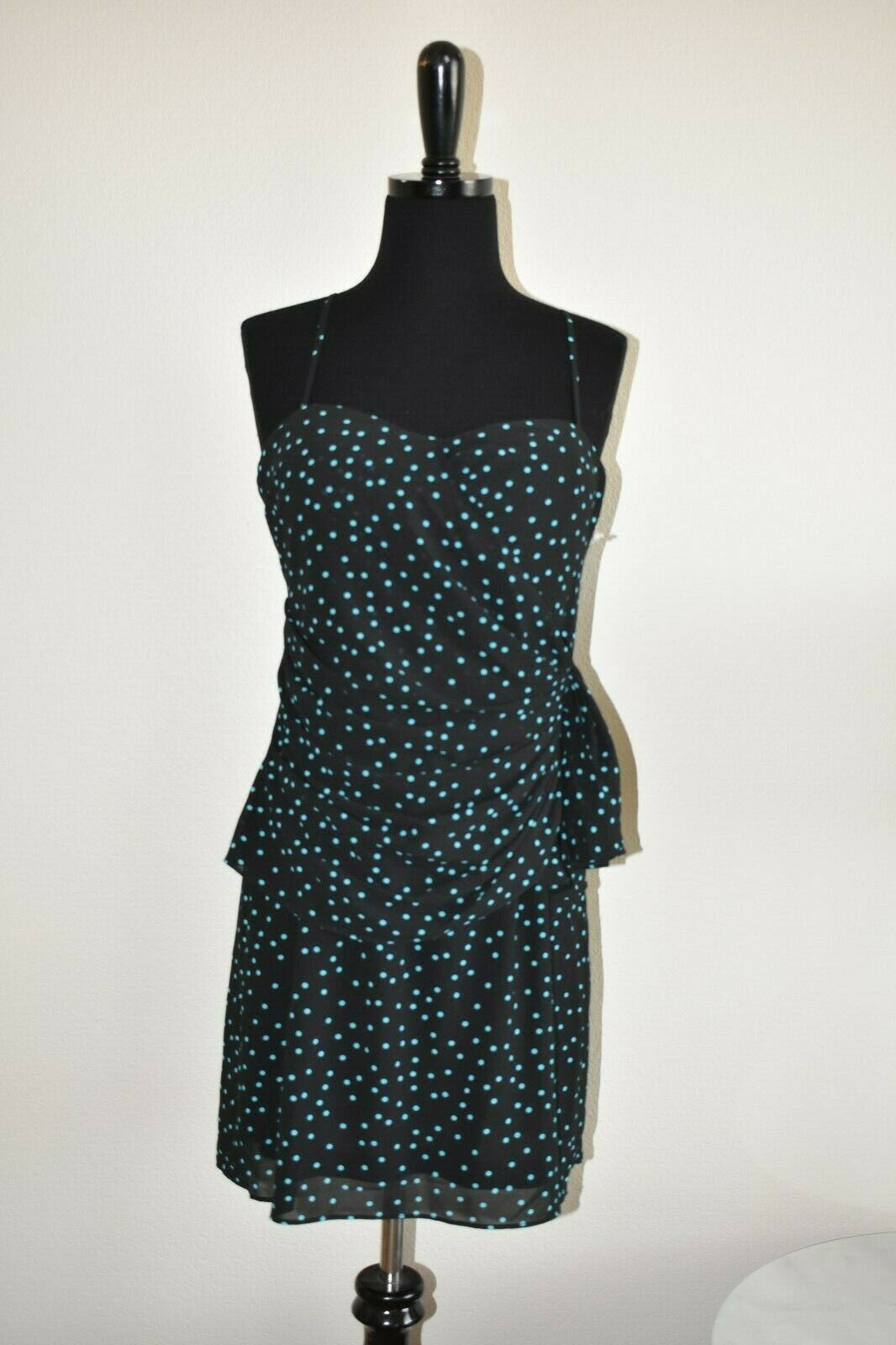 New NWT Forever 21 Black Turquoise Polka Dot Knee Length Dress Size M Medium