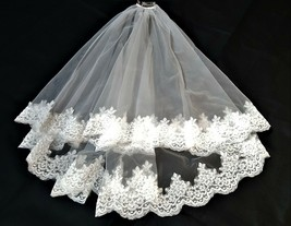 Bridal Wedding 2 Tier Veil French Alencon Lace With Metal Comb (C-102) I... - $40.00