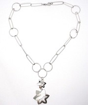 Necklace Silver 925, Chain Circles, Double Flower, Sun Hanging, Satin image 2