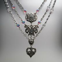 Authentic Kirks Folly Star Heart Crystal 3 Strand Silver Pewter Festoon ... - $87.12