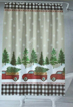 "Red Farm Truck Christmas Fabric Shower Curtain Holiday 72x72"" Buffalo Check - $33.96"