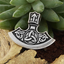 Norse Viking Axe Amulet Fancy Braided Triangle Rune Triple Horn of Odin ... - $16.35