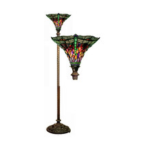Tiffany-style Dragonfly Red & Purple Torchiere Lamp - $221.84