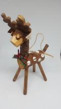 "Wooden Reindeer Christmas Xmas Holiday Tree Ornament Pre-owned 5.5"" - $14.95"